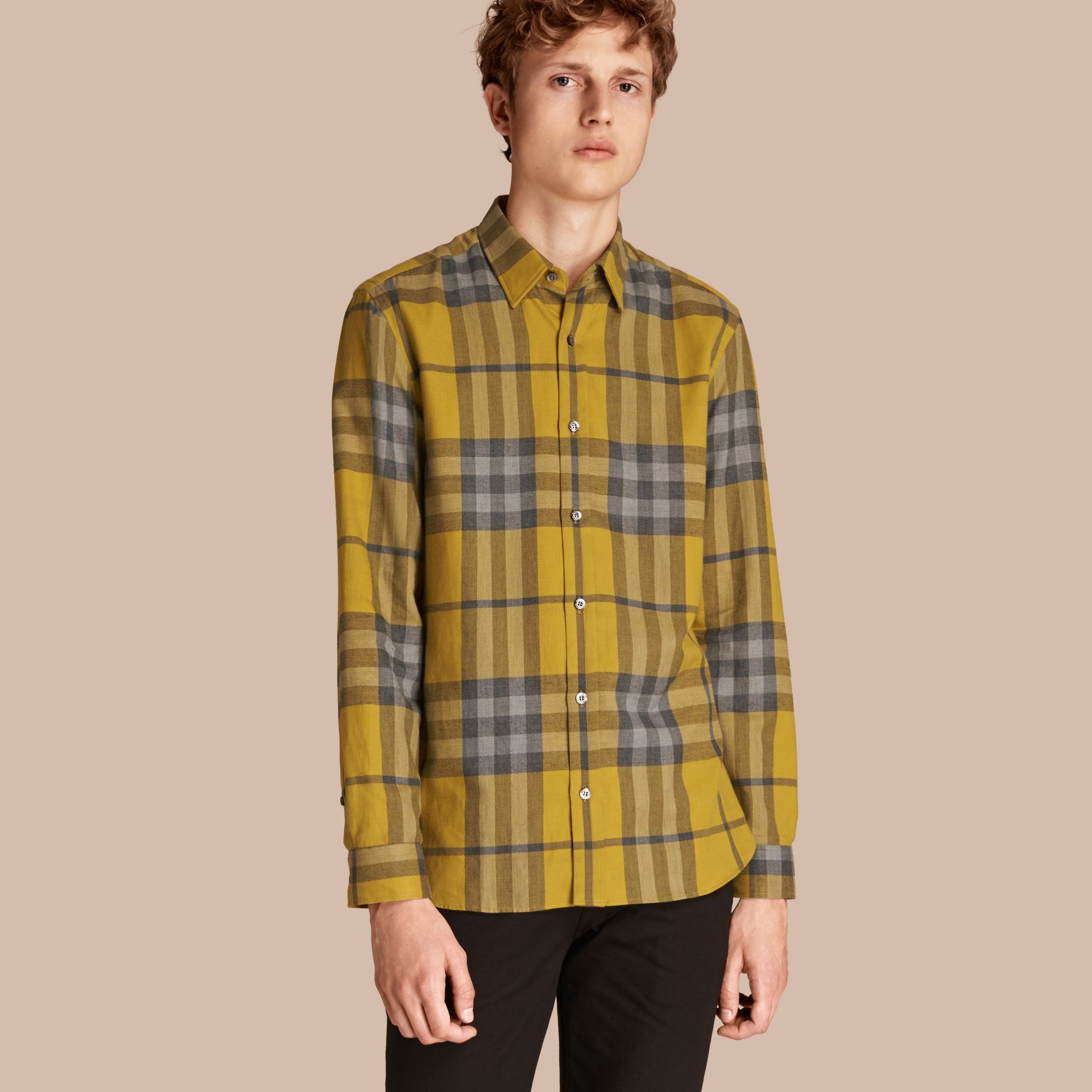 Check Cotton Cashmere Flannel Shirt in Larch Yellow - gallery image 1