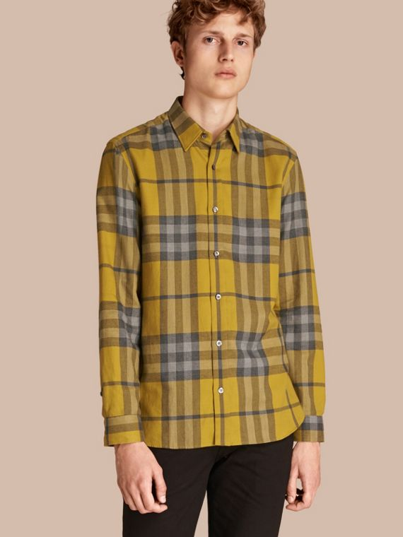 Check Cotton Cashmere Flannel Shirt Larch Yellow