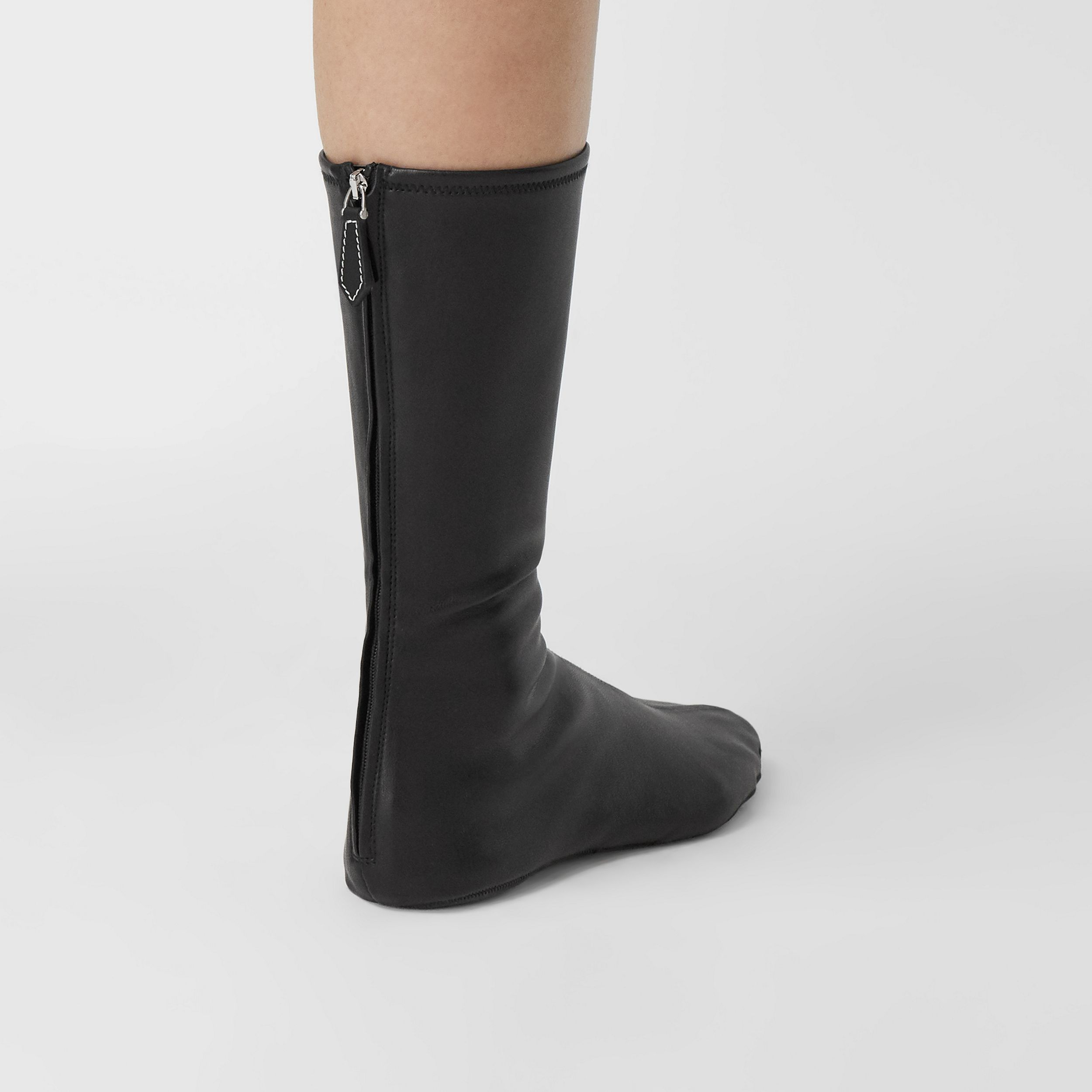 Faux Leather Mid-calf Socks in Black - Women | Burberry United Kingdom - 4