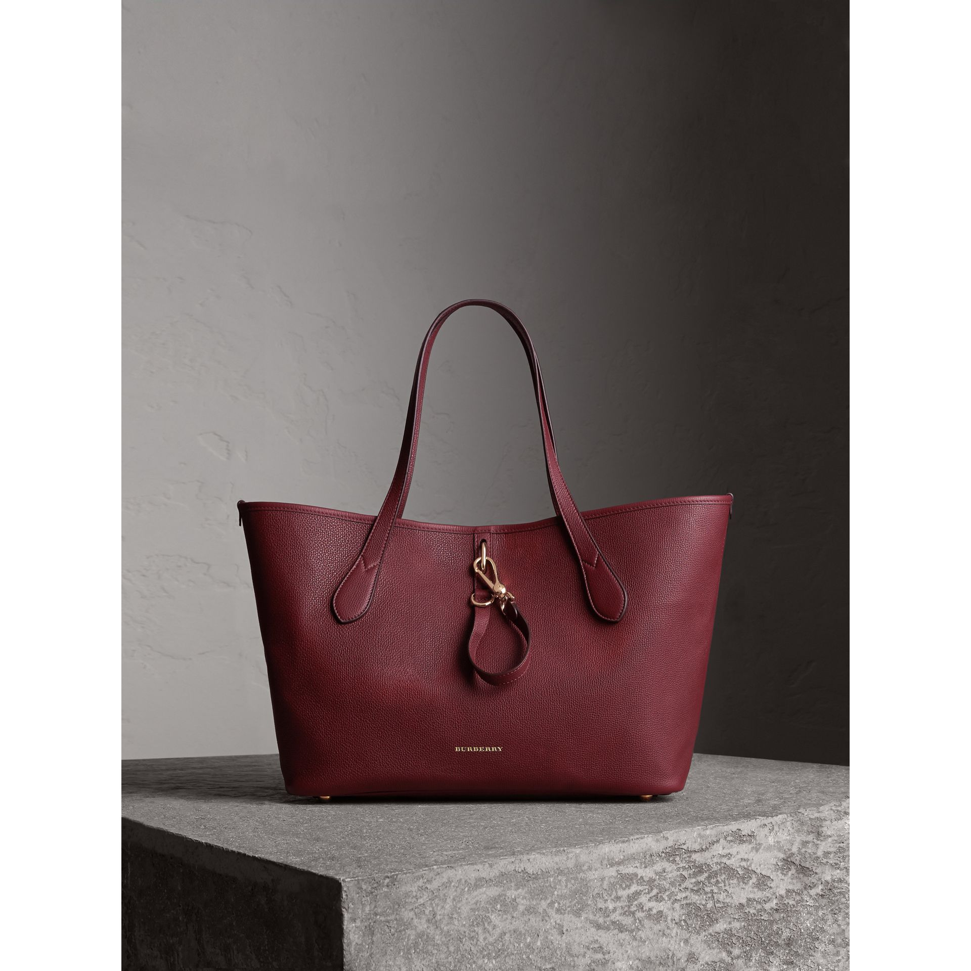 Medium Grainy Leather Tote Bag in Mahogany Red - gallery image 1
