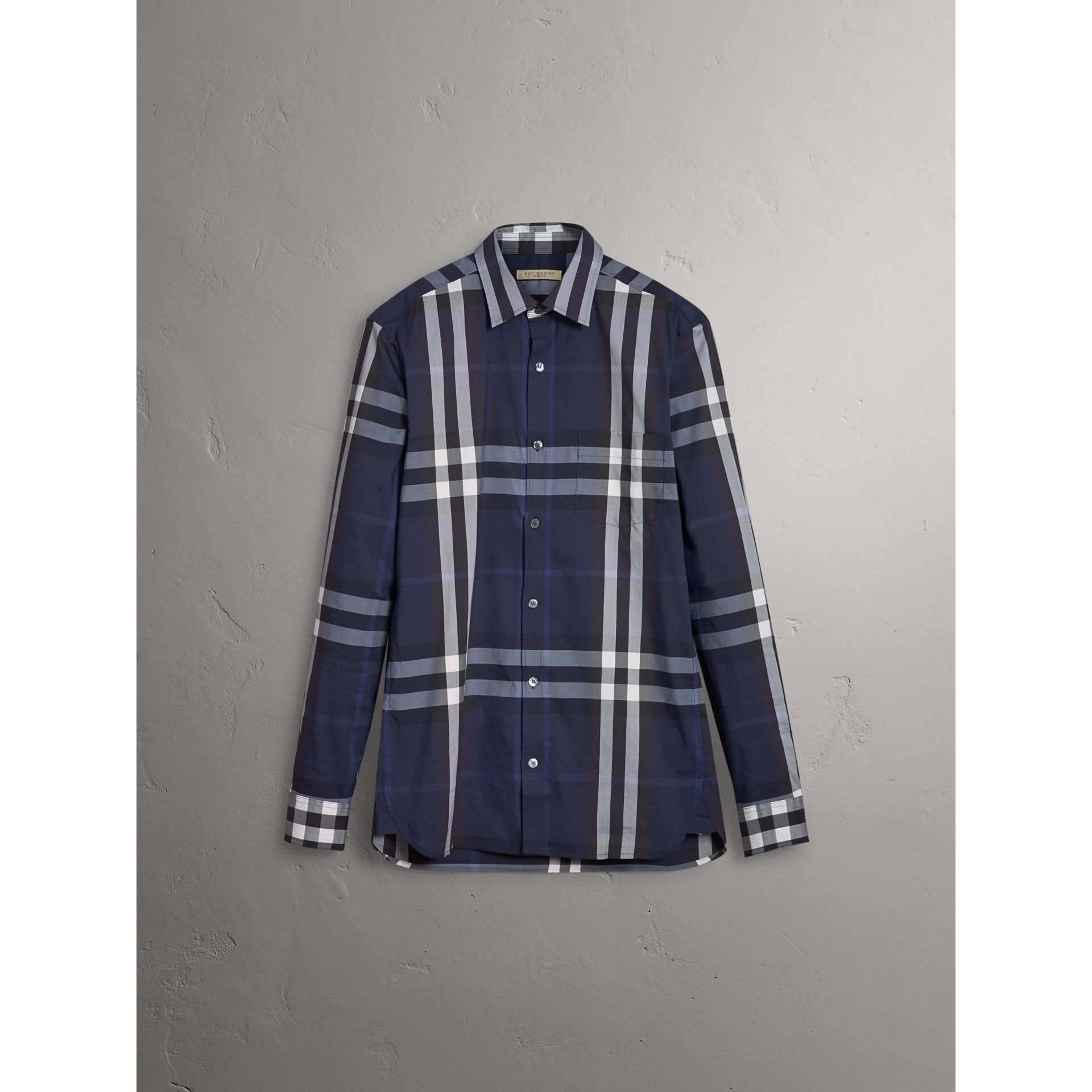 Check Stretch Cotton Shirt in Indigo Blue - Men | Burberry - gallery image 3