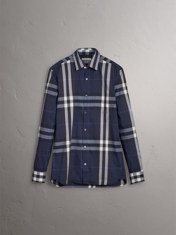 Check Stretch Cotton Shirt in Indigo Blue - Men | Burberry Singapore - cell image 3