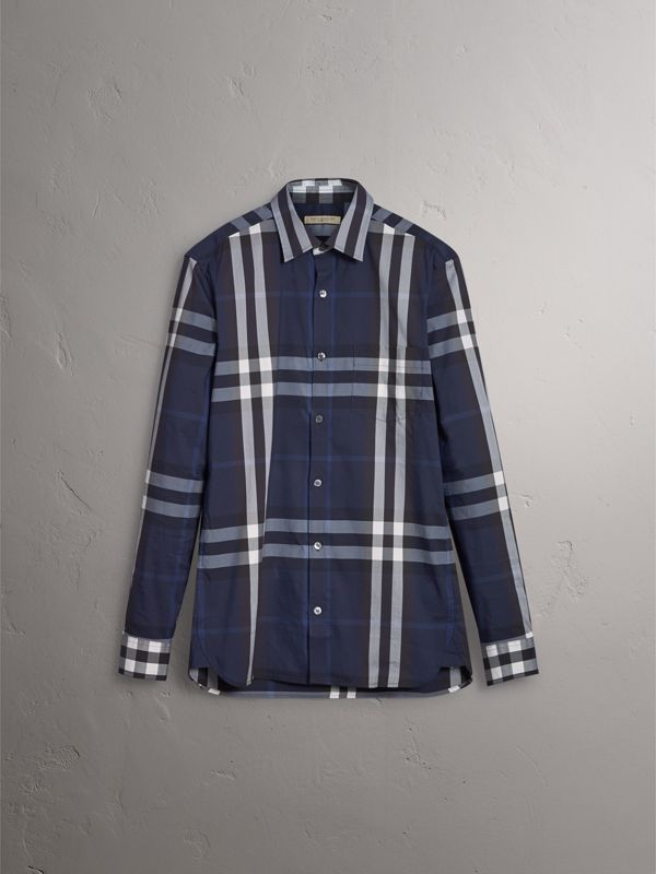 Check Stretch Cotton Shirt in Indigo Blue - Men | Burberry - cell image 3