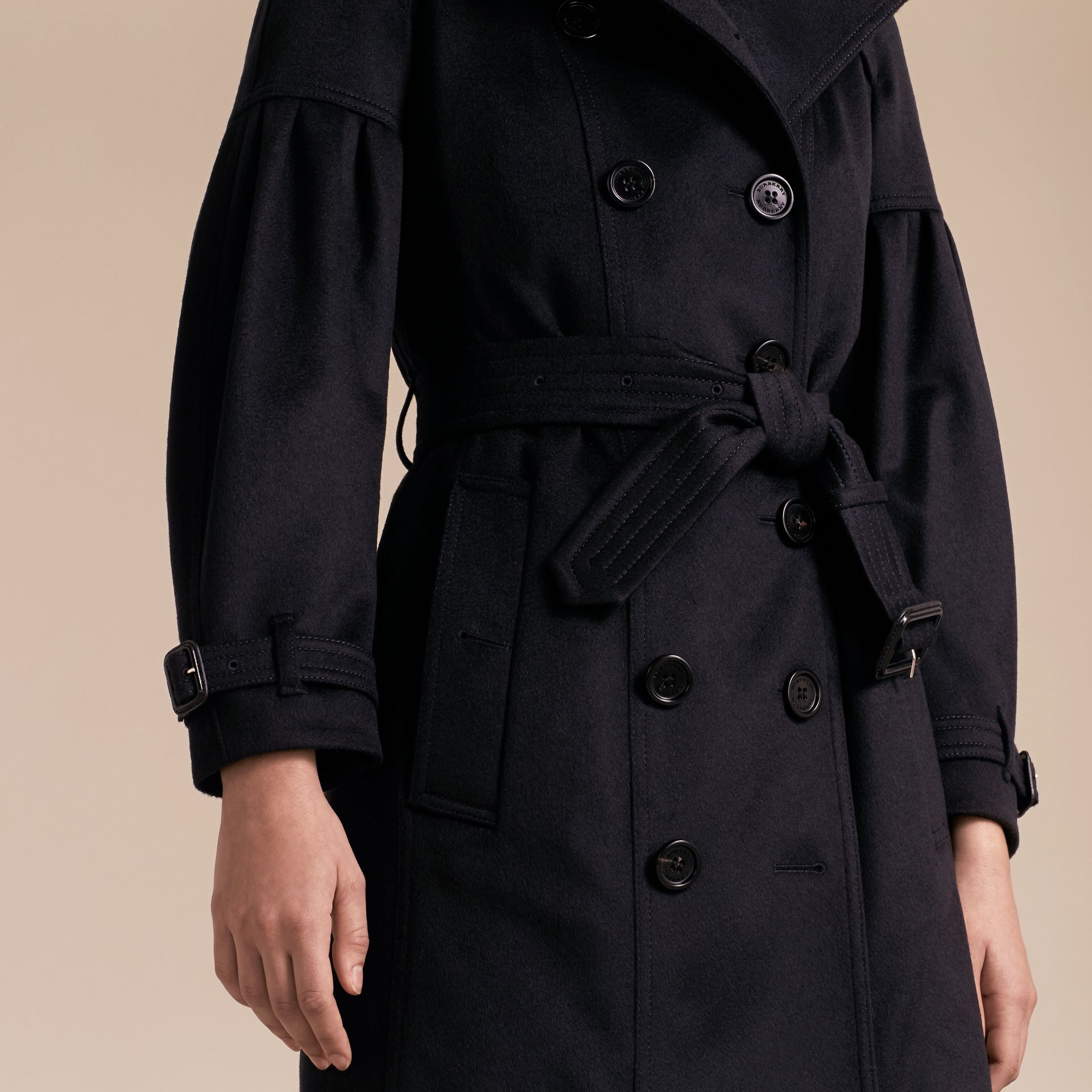 Navy Cashmere Trench Coat with Puff Sleeves Navy - gallery image 6