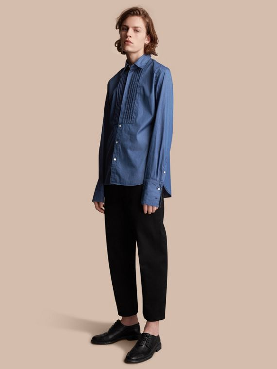 Unisex Double-cuff Pintuck Bib Cotton Shirt in Denim Blue - Women | Burberry Singapore - cell image 2