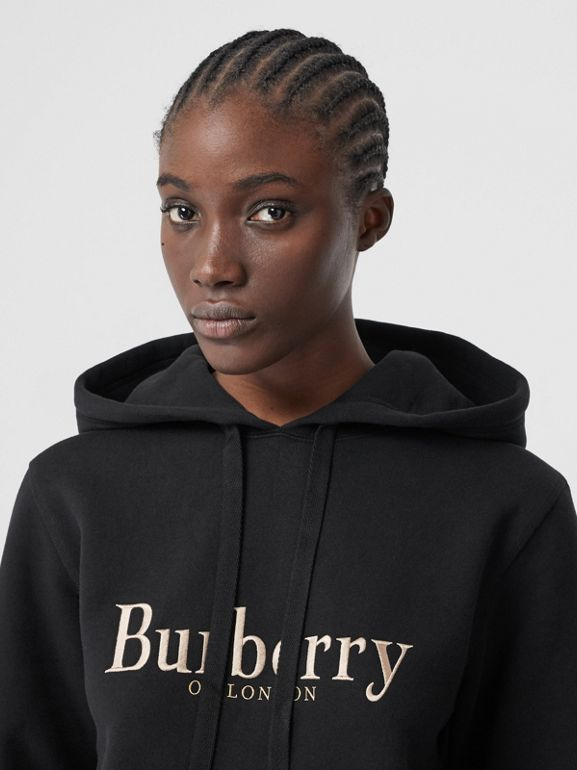 Embroidered Archive Logo Jersey Hoodie in Black - Women | Burberry - cell image 1