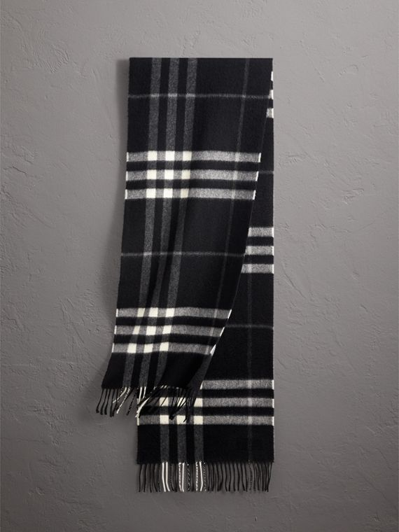 The Classic Check Cashmere Scarf in Black