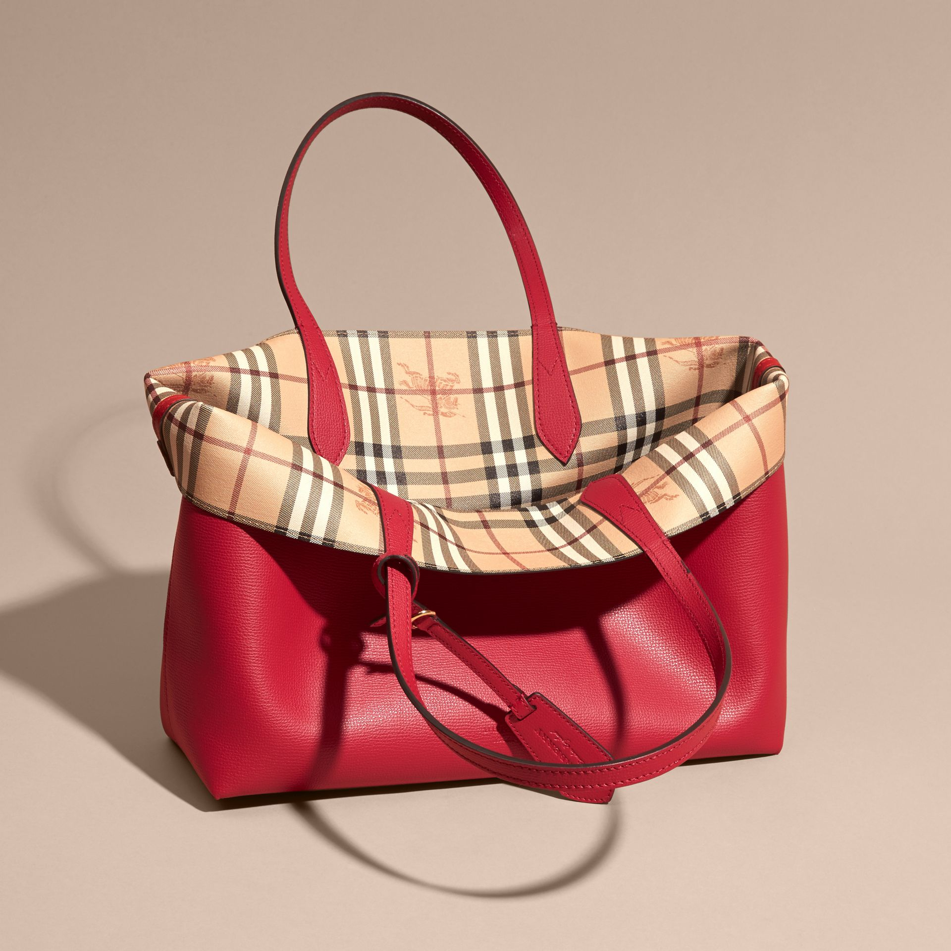 The Medium Reversible Tote in Haymarket Check and Leather Poppy Red - gallery image 5