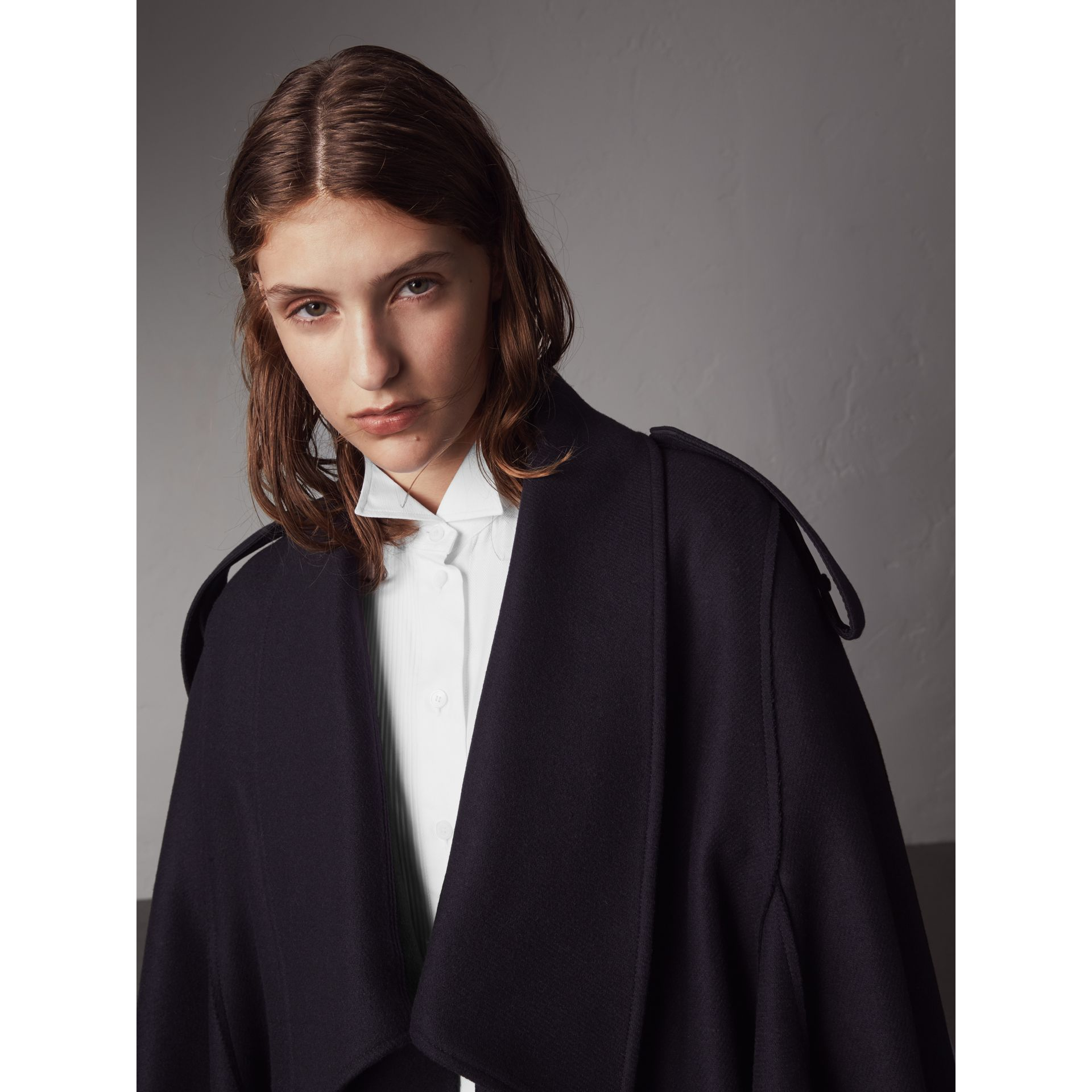 Wool Cashmere Blend Military Cape in True Navy - Women | Burberry - gallery image 1