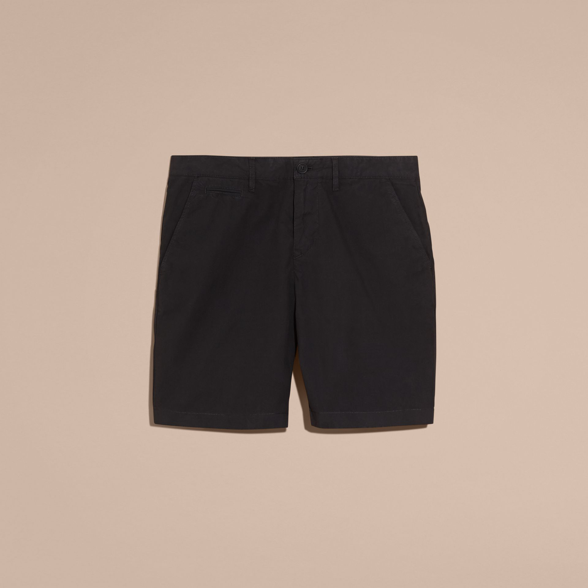 Black Cotton Poplin Chino Shorts Black - gallery image 4
