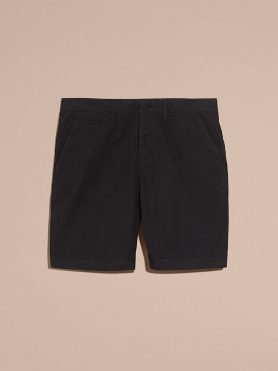 Black Cotton Poplin Chino Shorts Black - cell image 3