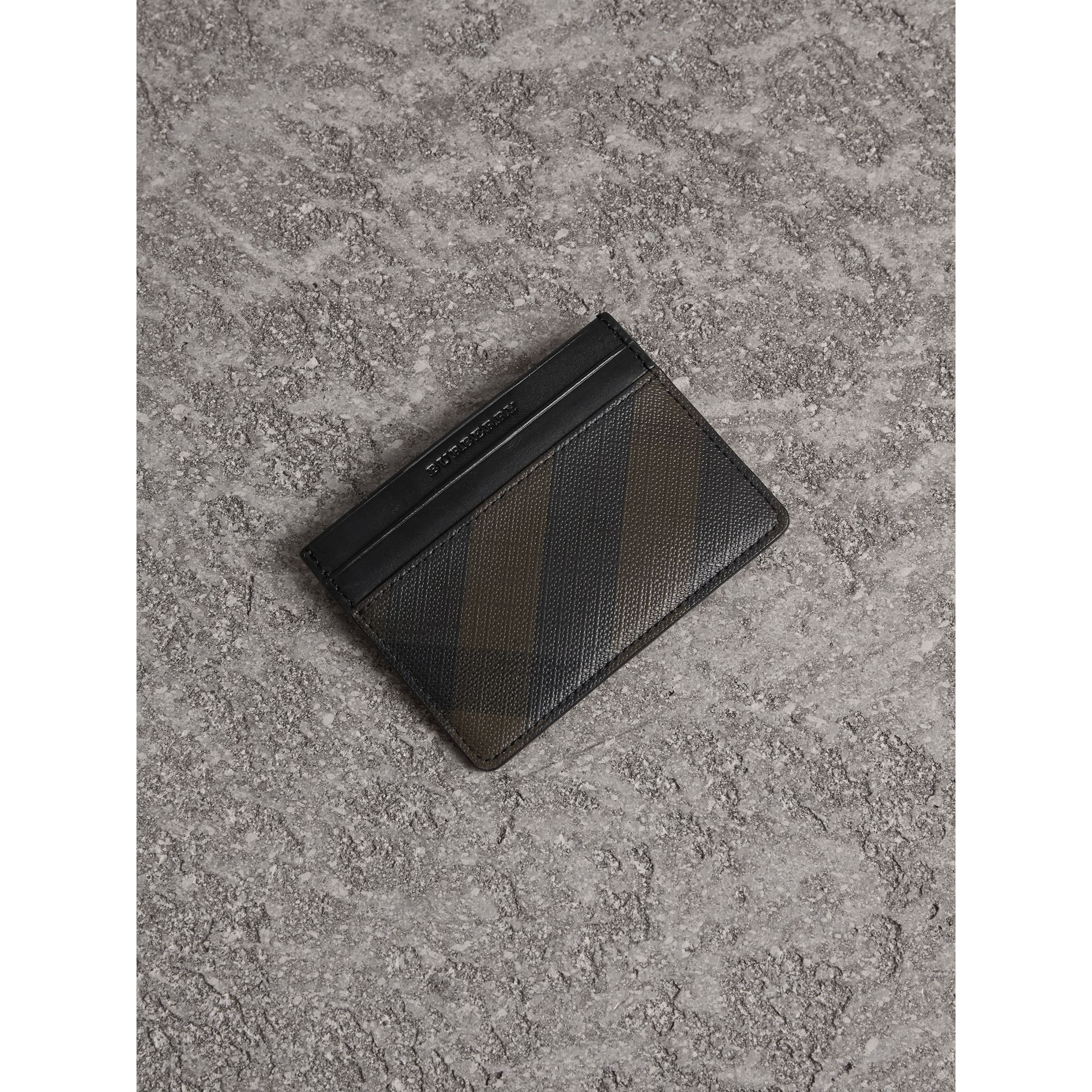 London Check Card Case in Chocolate/black - Men | Burberry United Kingdom - gallery image 1