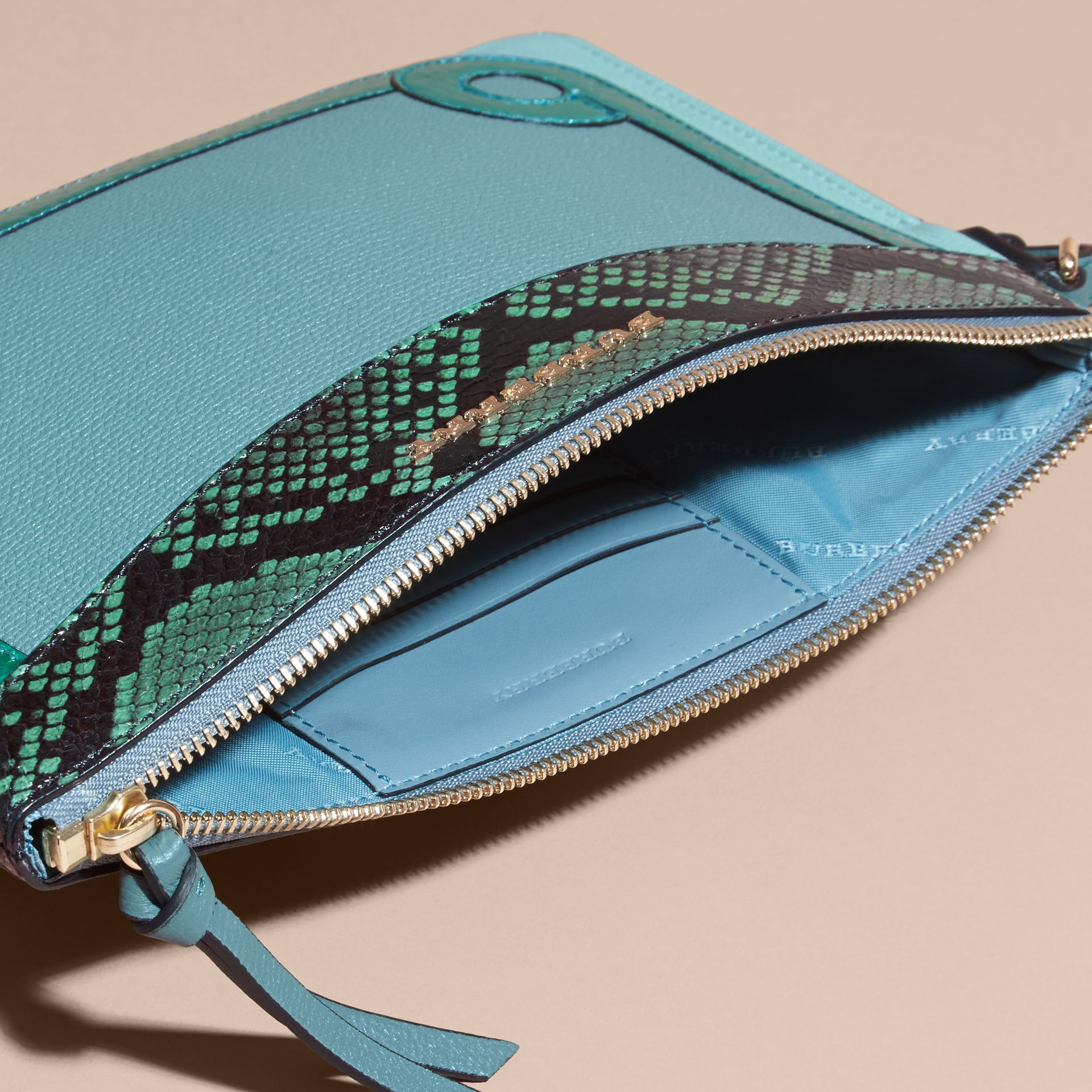Celadon blue Leather and Snakeskin Clutch Bag Celadon Blue - gallery image 6