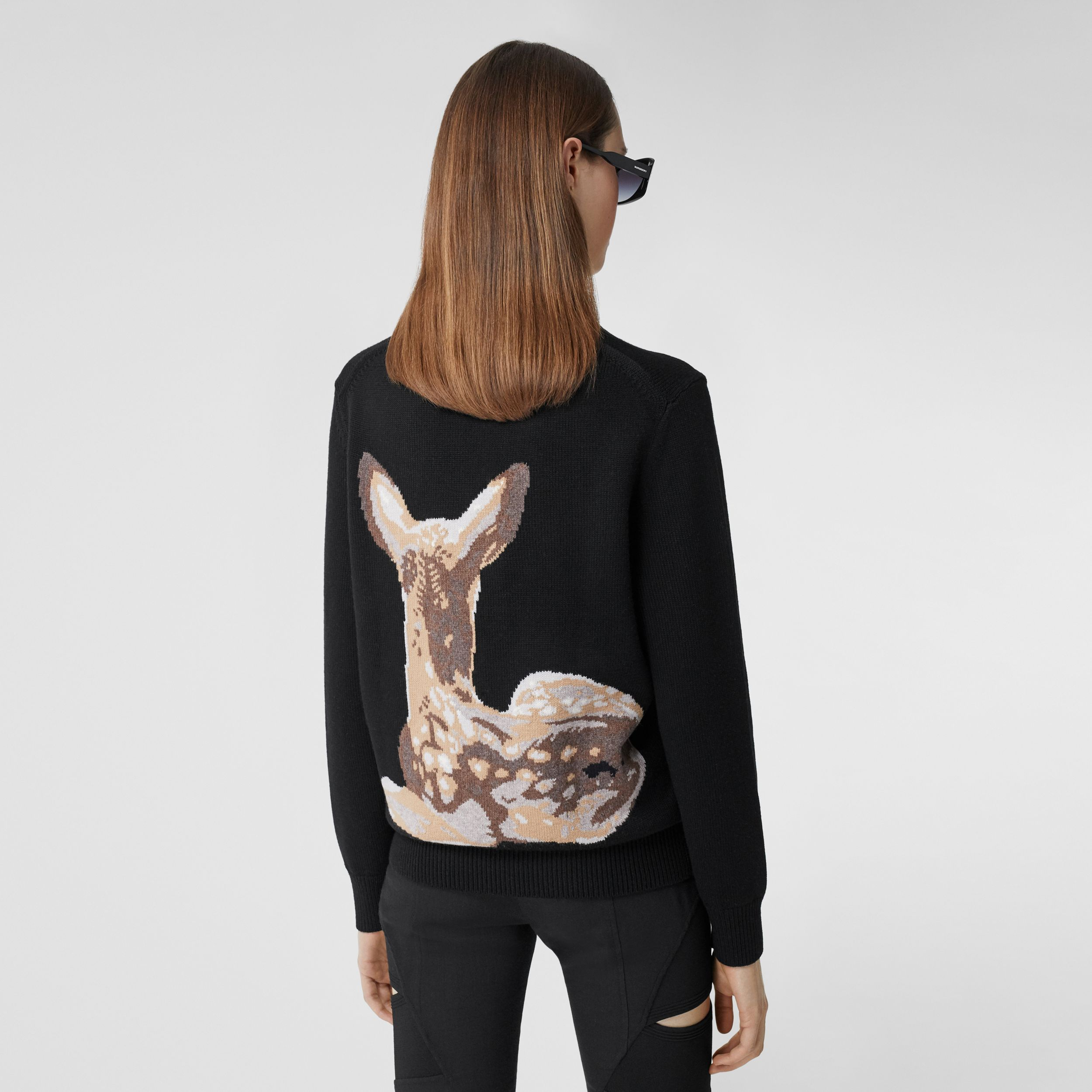 Deer Intarsia Wool Sweater in Black | Burberry - 3