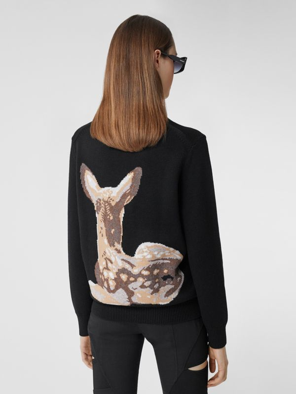 Deer Intarsia Wool Sweater in Black | Burberry - cell image 2