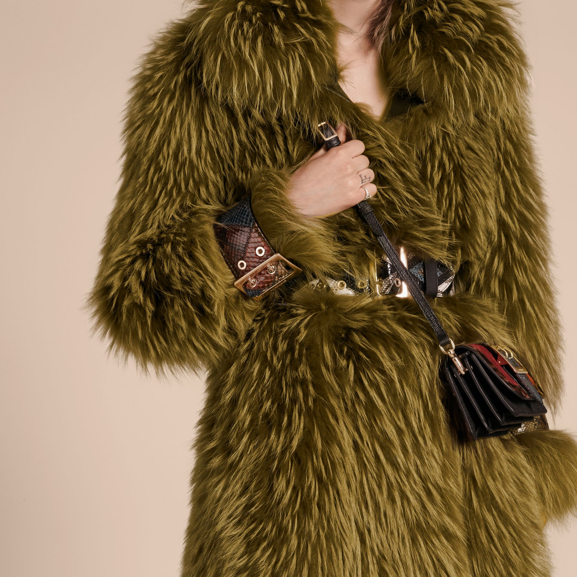 Bright yellow olive Oversize Raccoon Coat with Snakeskin Details - gallery image 6