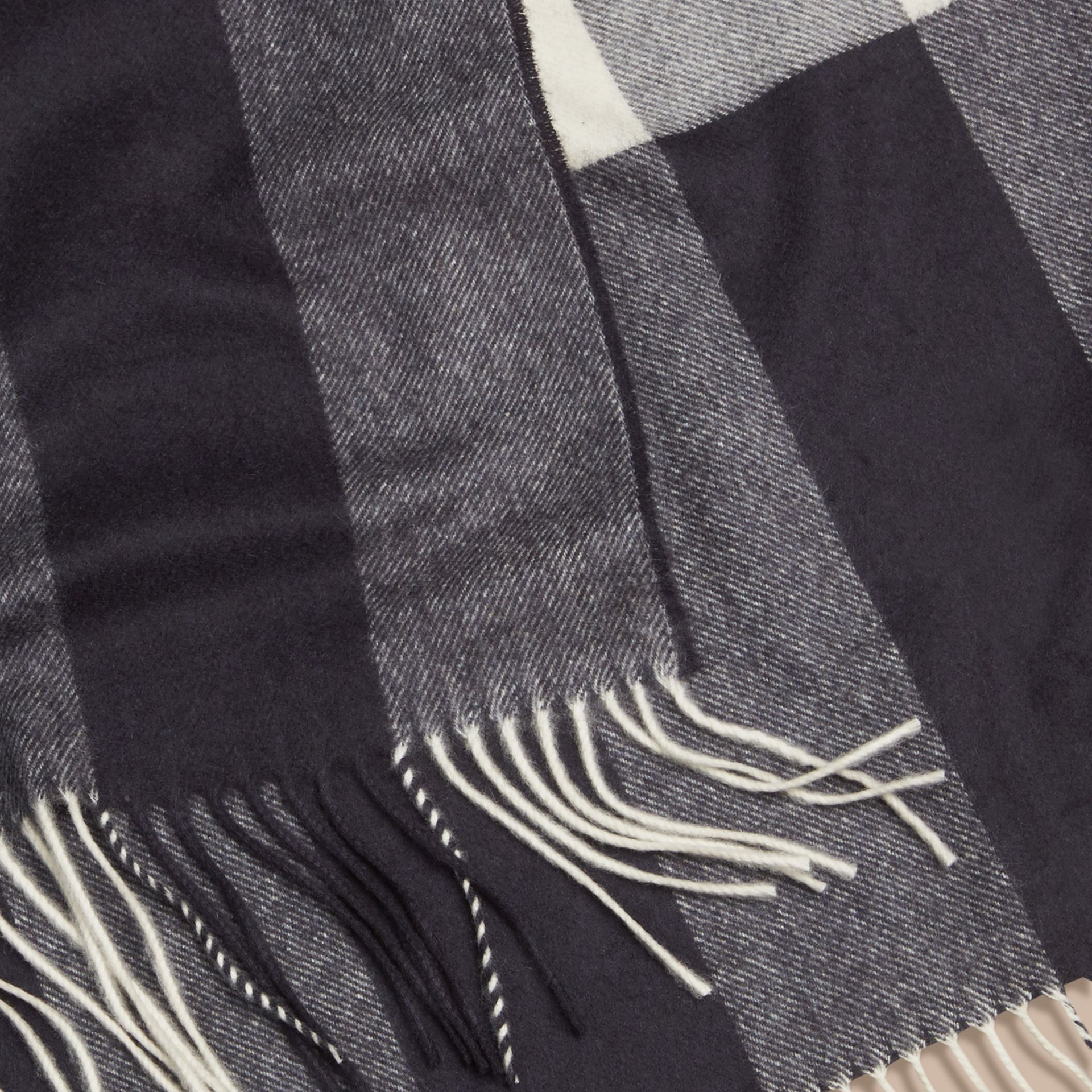 Check Cashmere Blanket in Navy | Burberry - gallery image 2