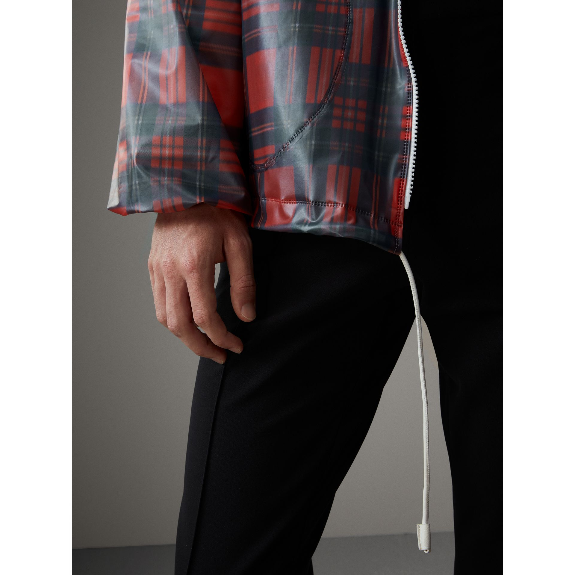 Tartan Soft-touch Plastic Cagoule in Bright Red - Men | Burberry United Kingdom - gallery image 2