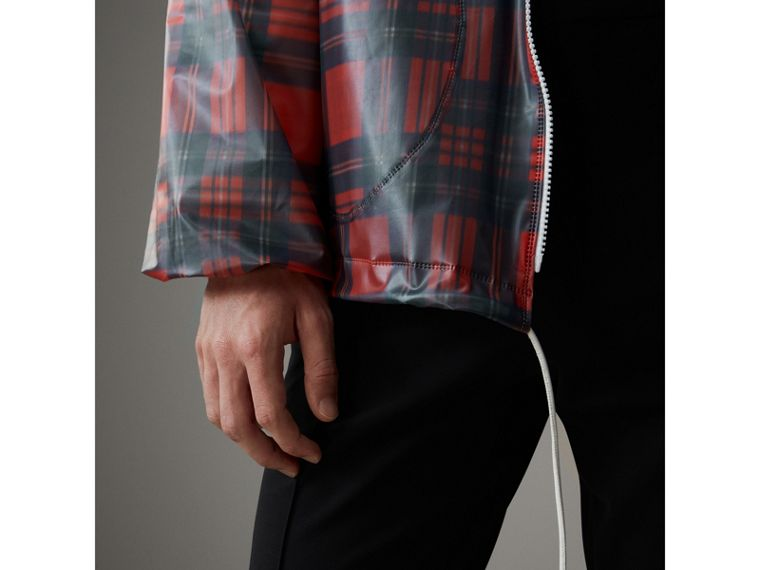 Tartan Soft-touch Plastic Cagoule in Bright Red - Men | Burberry United Kingdom - cell image 1