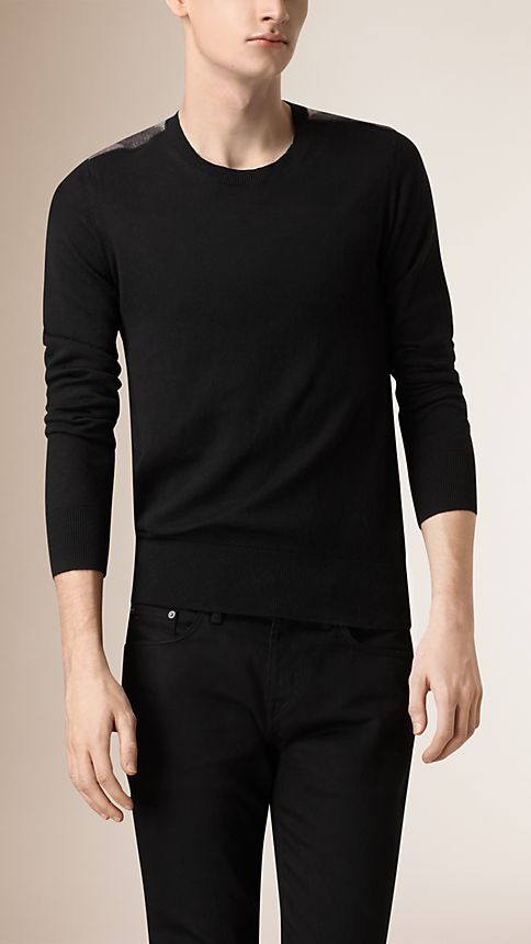 Black Check Detail Cotton Cashmere Sweater - Image 1