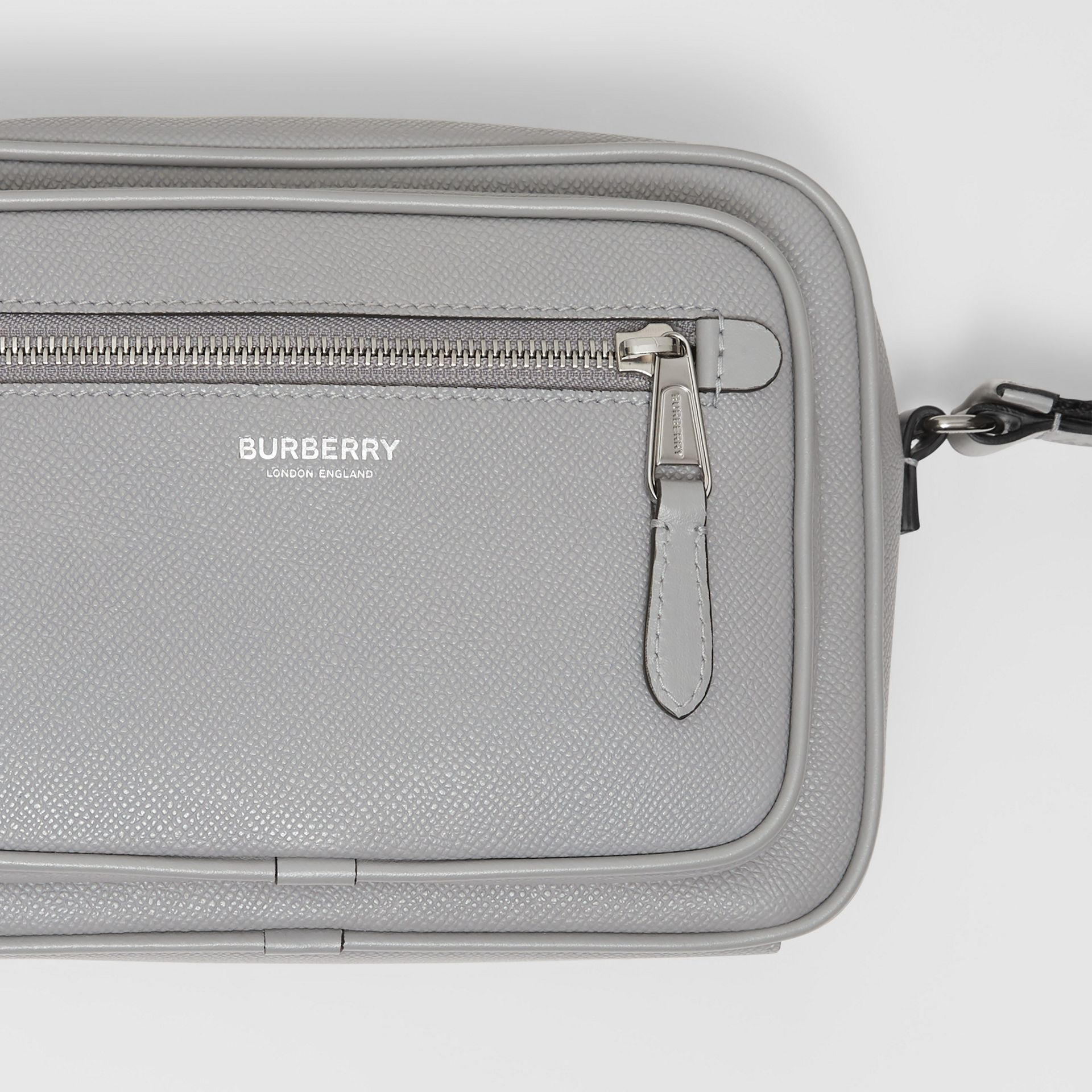 Grainy Leather Crossbody Bag in Cloud Grey | Burberry United Kingdom - gallery image 1