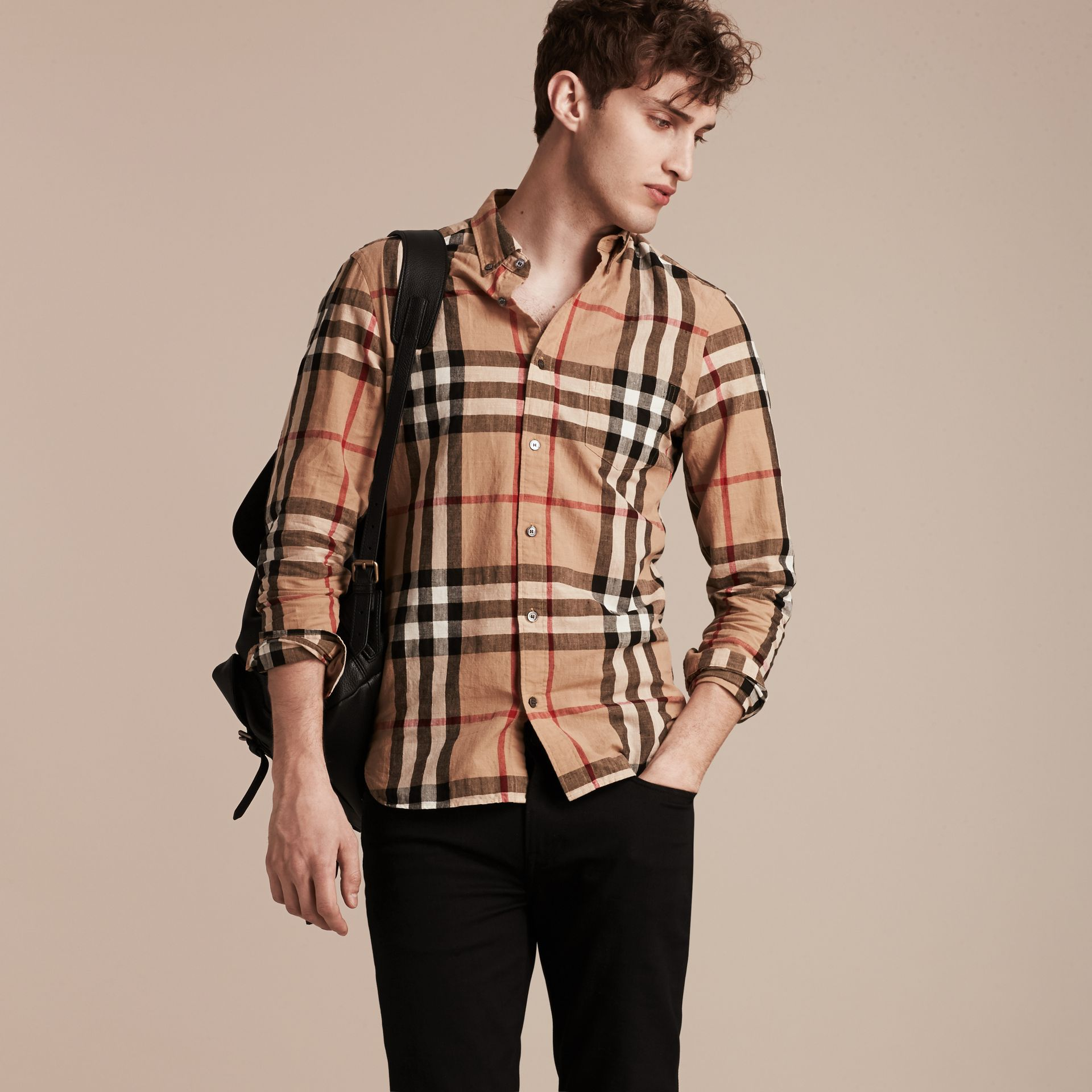 Button-down Collar Check Linen Cotton Shirt Camel - gallery image 6
