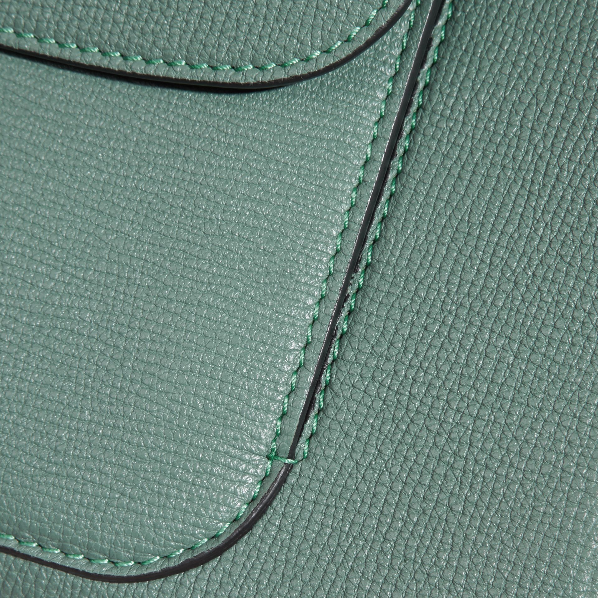 Smokey green The Saddle Clutch in Grainy Bonded Leather Smokey Green - gallery image 2