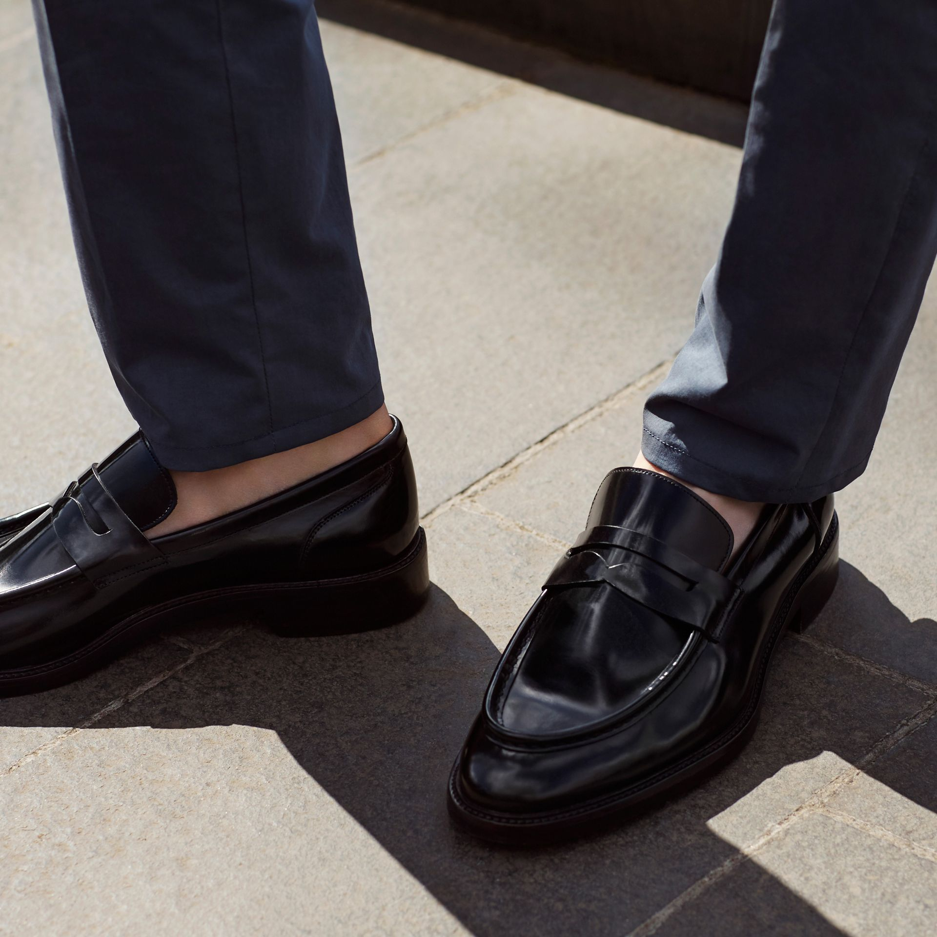 Black Rubber Sole Leather Loafers - gallery image 6