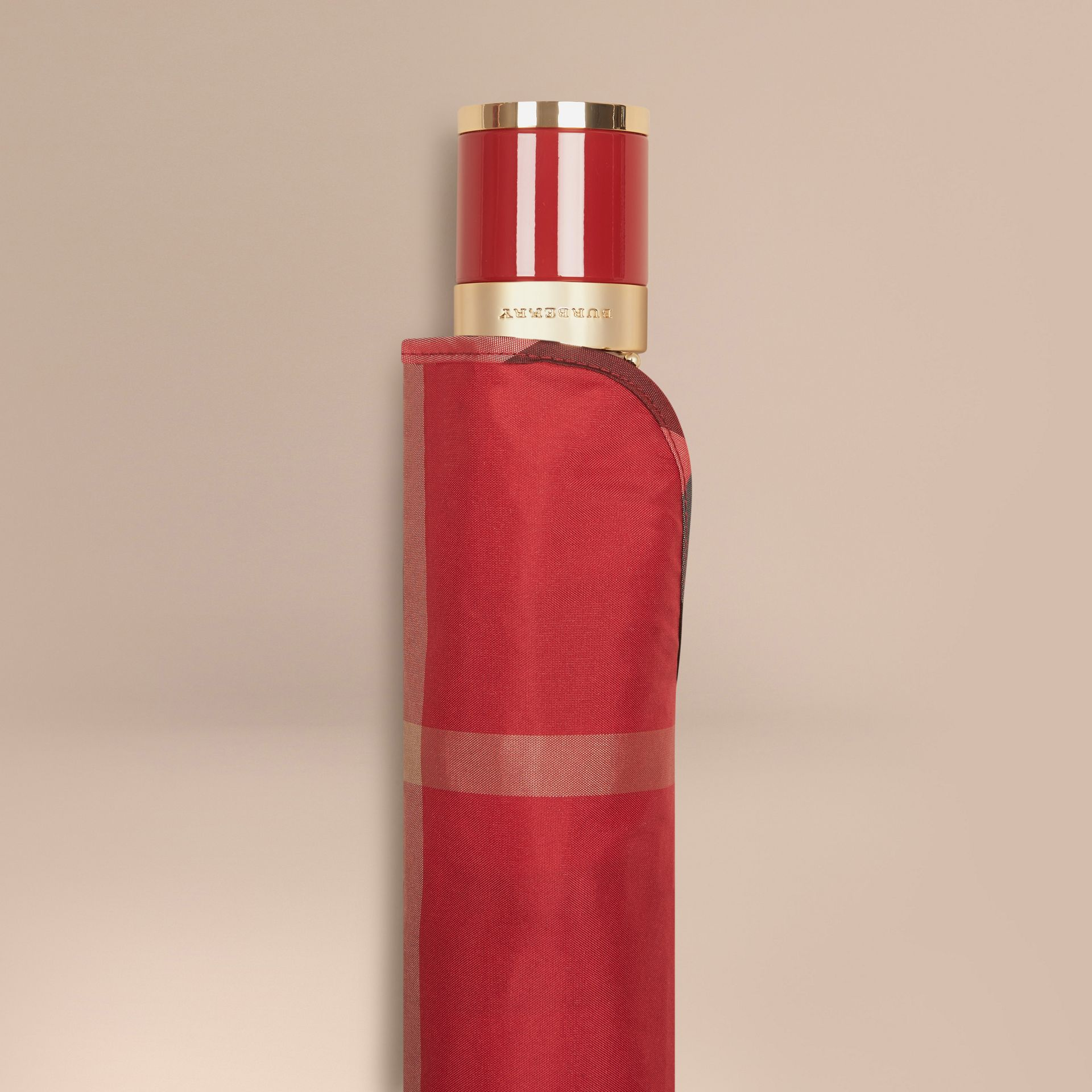 Check Folding Umbrella in Parade Red | Burberry Canada - gallery image 2