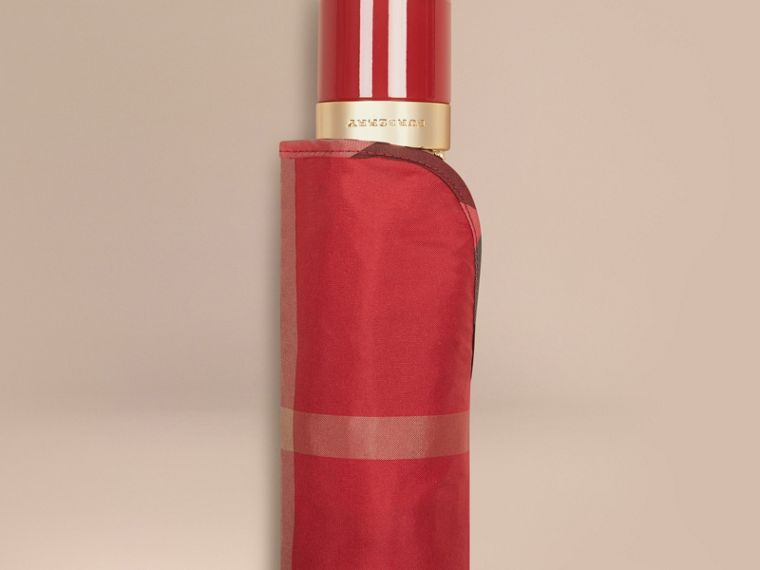 Check Folding Umbrella in Parade Red | Burberry - cell image 1