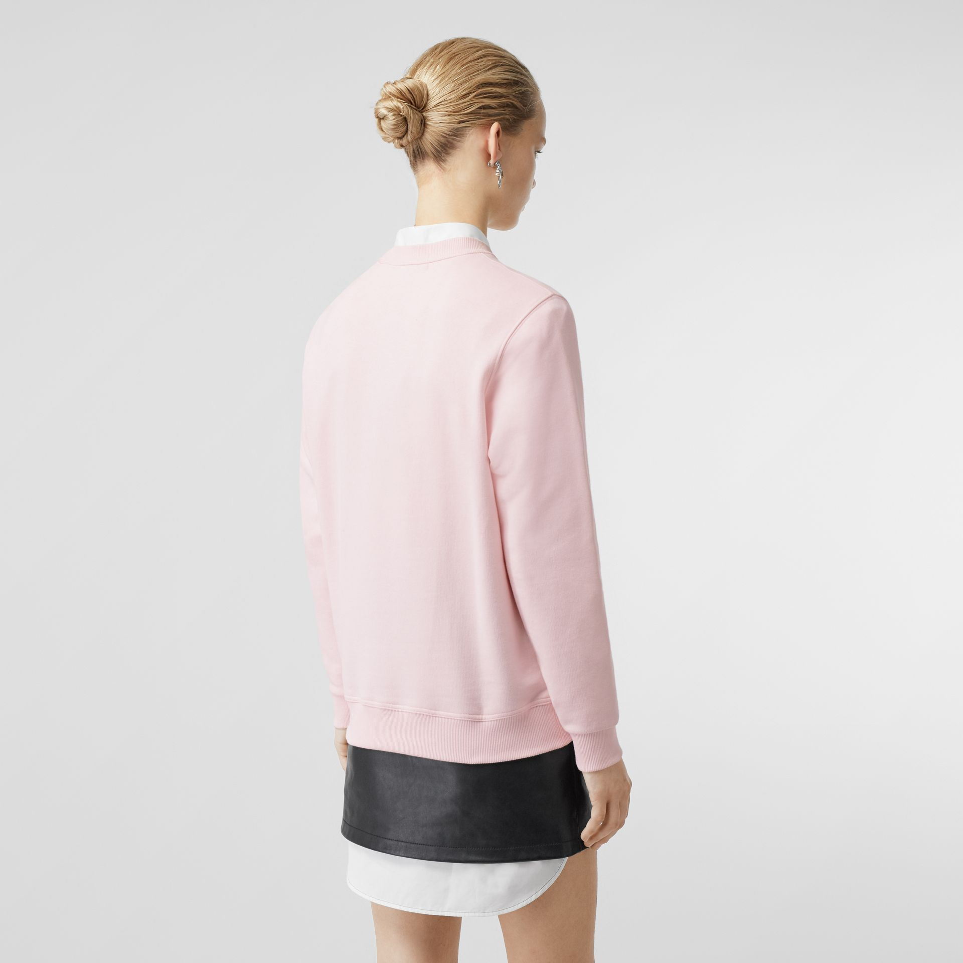 Logo Print Cotton Sweatshirt in Alabaster Pink - Women | Burberry - gallery image 2