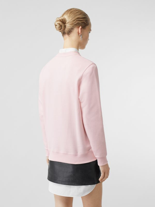 Logo Print Cotton Sweatshirt in Alabaster Pink - Women | Burberry United Kingdom - cell image 2