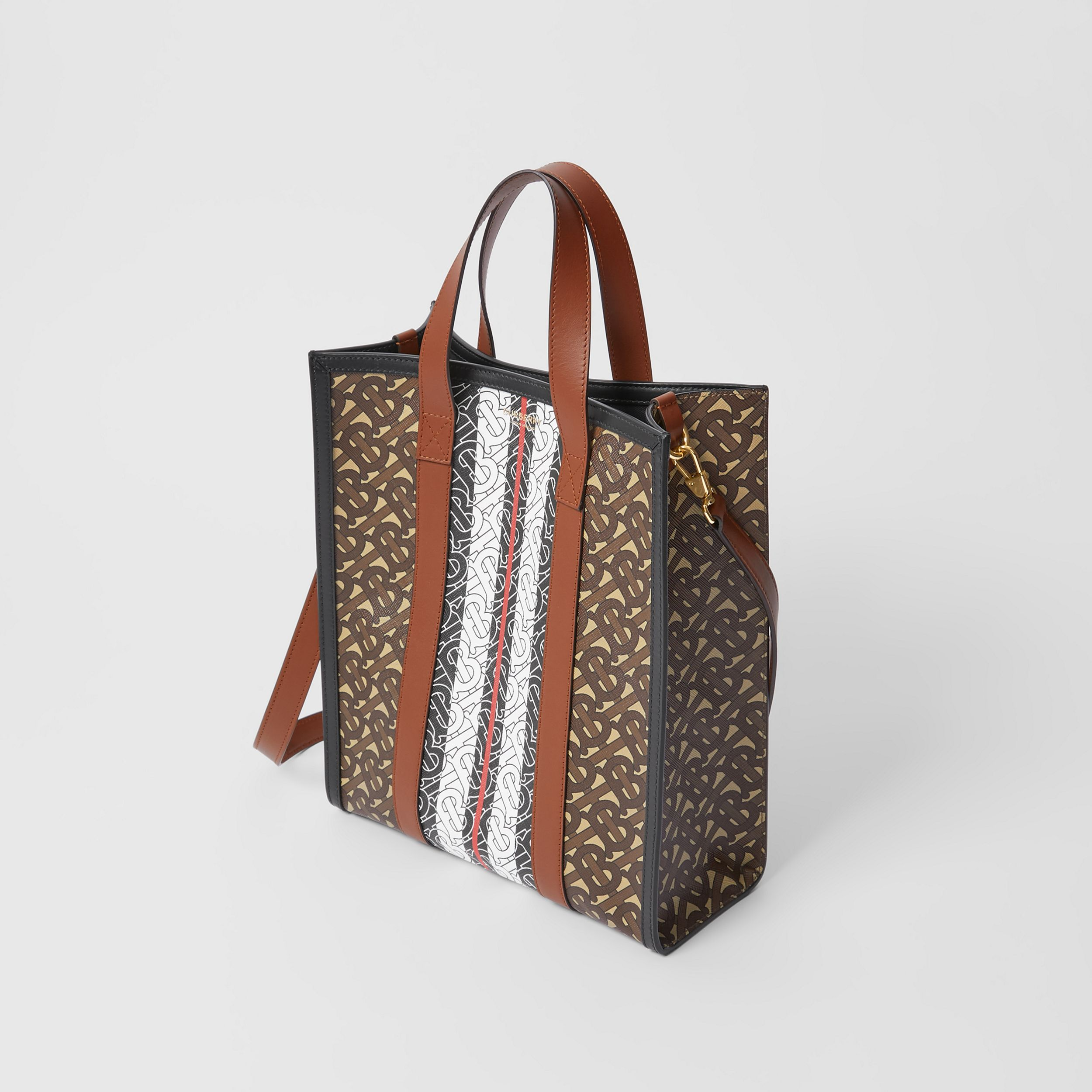 Small Monogram Stripe E-canvas Portrait Tote Bag in Bridle Brown - Women | Burberry - 3
