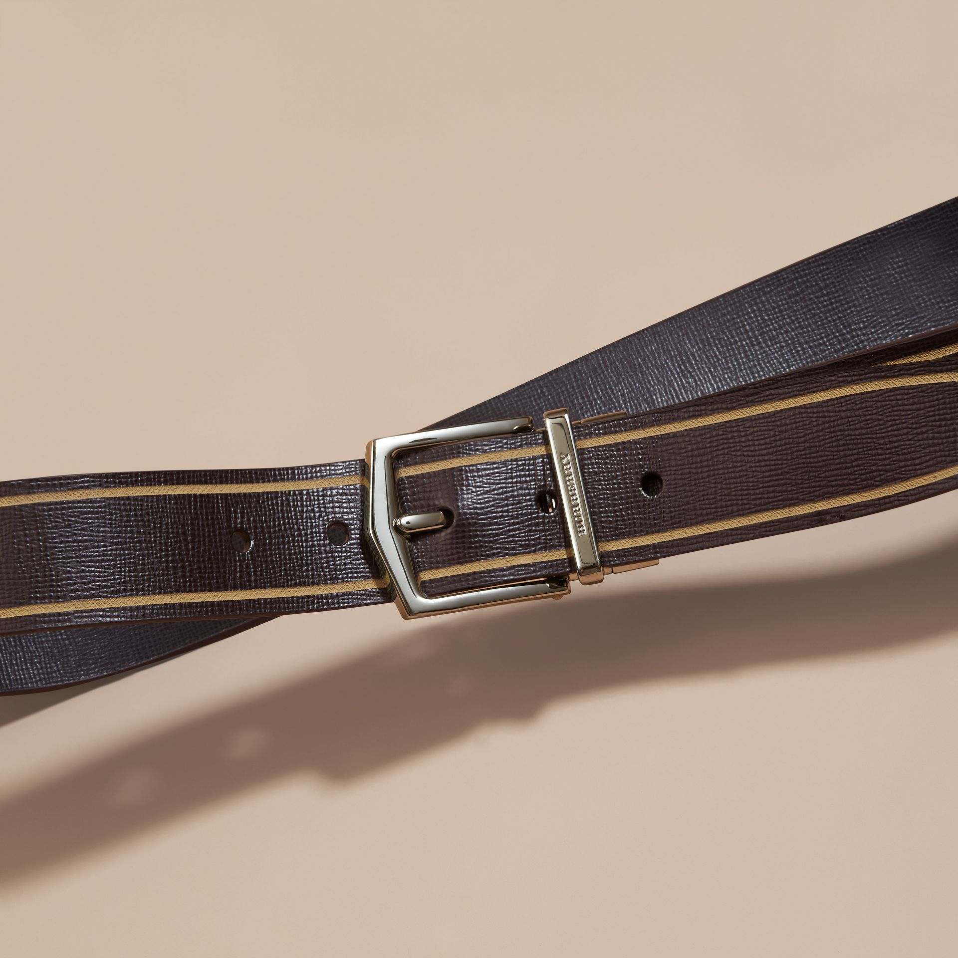 Reversible Border Detail London Leather Belt Peppercorn/black - gallery image 3