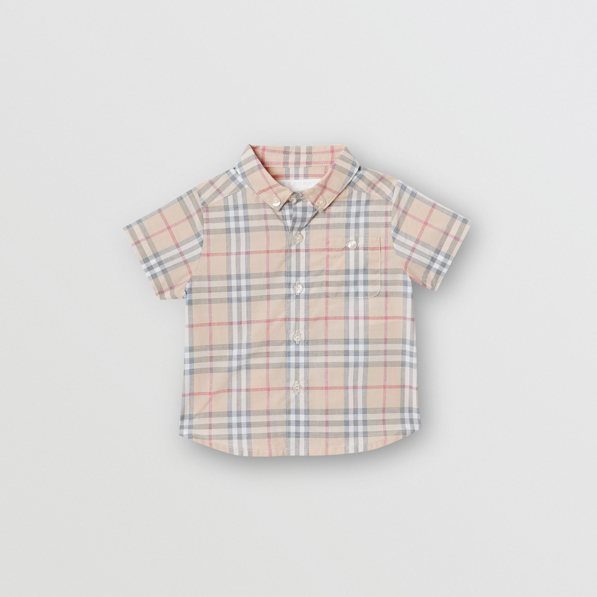 Button-down Collar Short-sleeve Check Cotton Shirt in Pale Stone - Children | Burberry Canada - gallery image 0