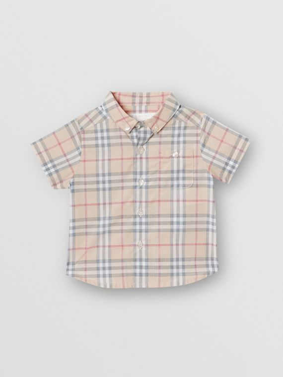 Button-down Collar Short-sleeve Check Cotton Shirt in Pale Stone