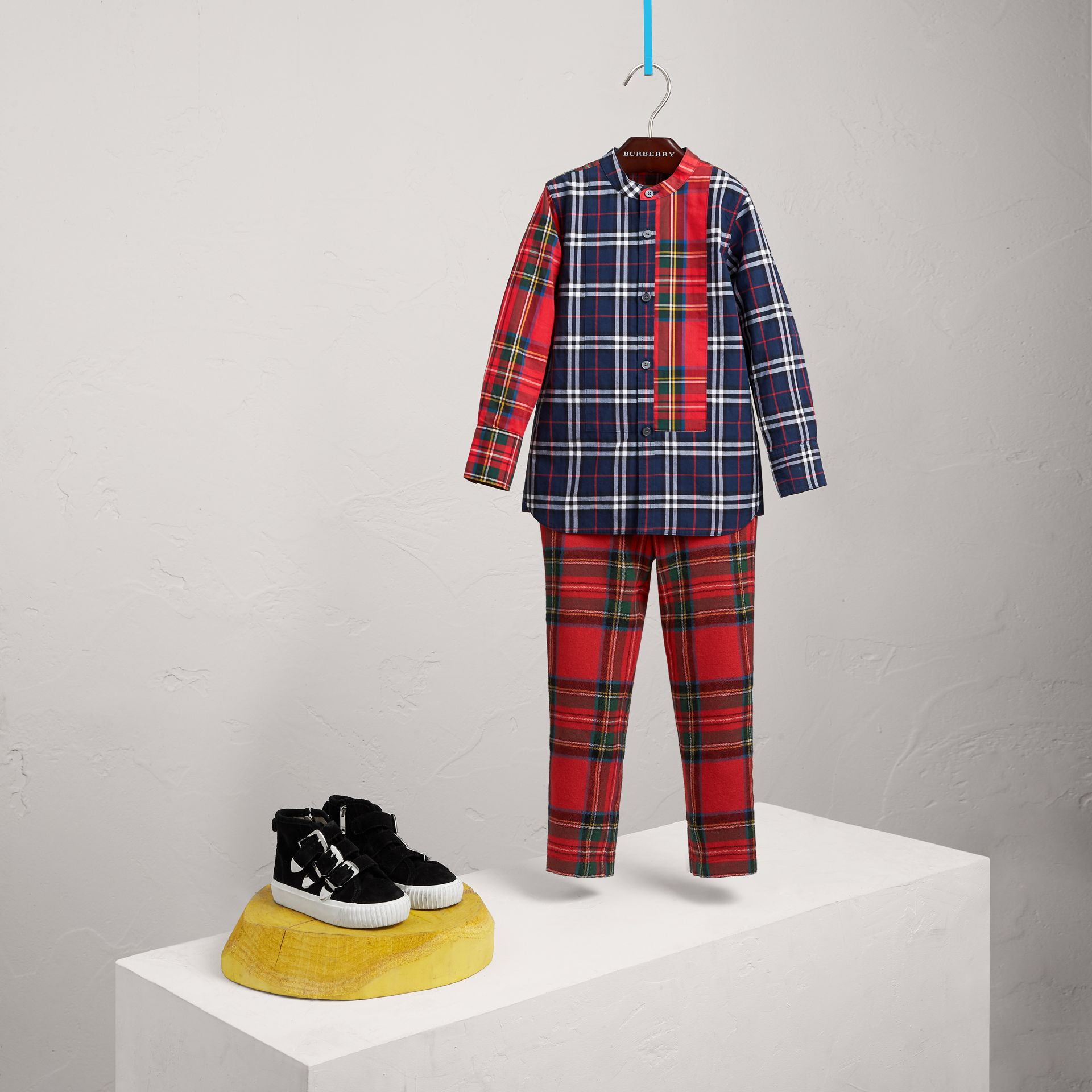 Panelled Tartan and Check Cotton Poplin Shirt in Navy - Boy | Burberry - gallery image 0