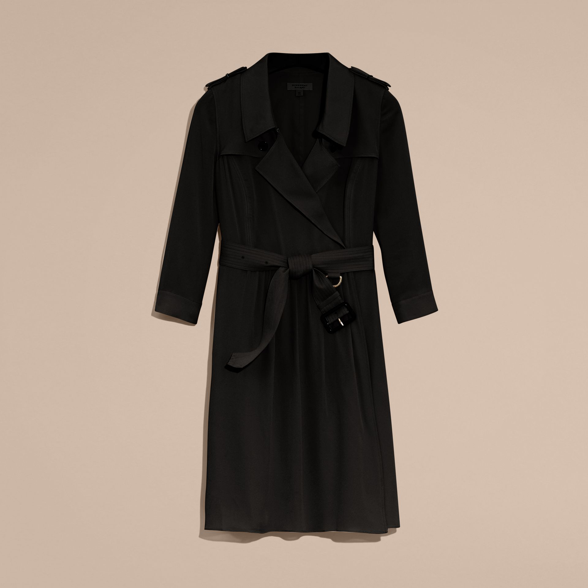 Silk Trench Dress in Black - Women | Burberry - gallery image 4