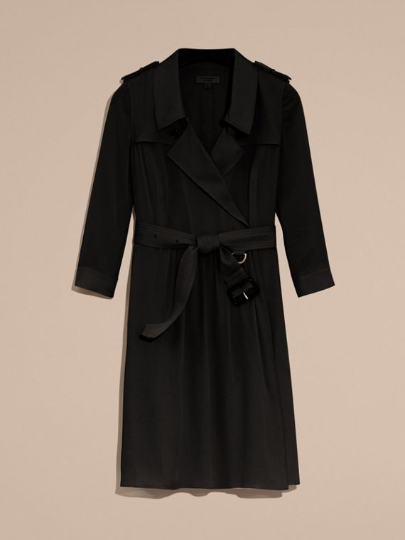 Silk Trench Dress in Black - Women | Burberry Australia - cell image 3