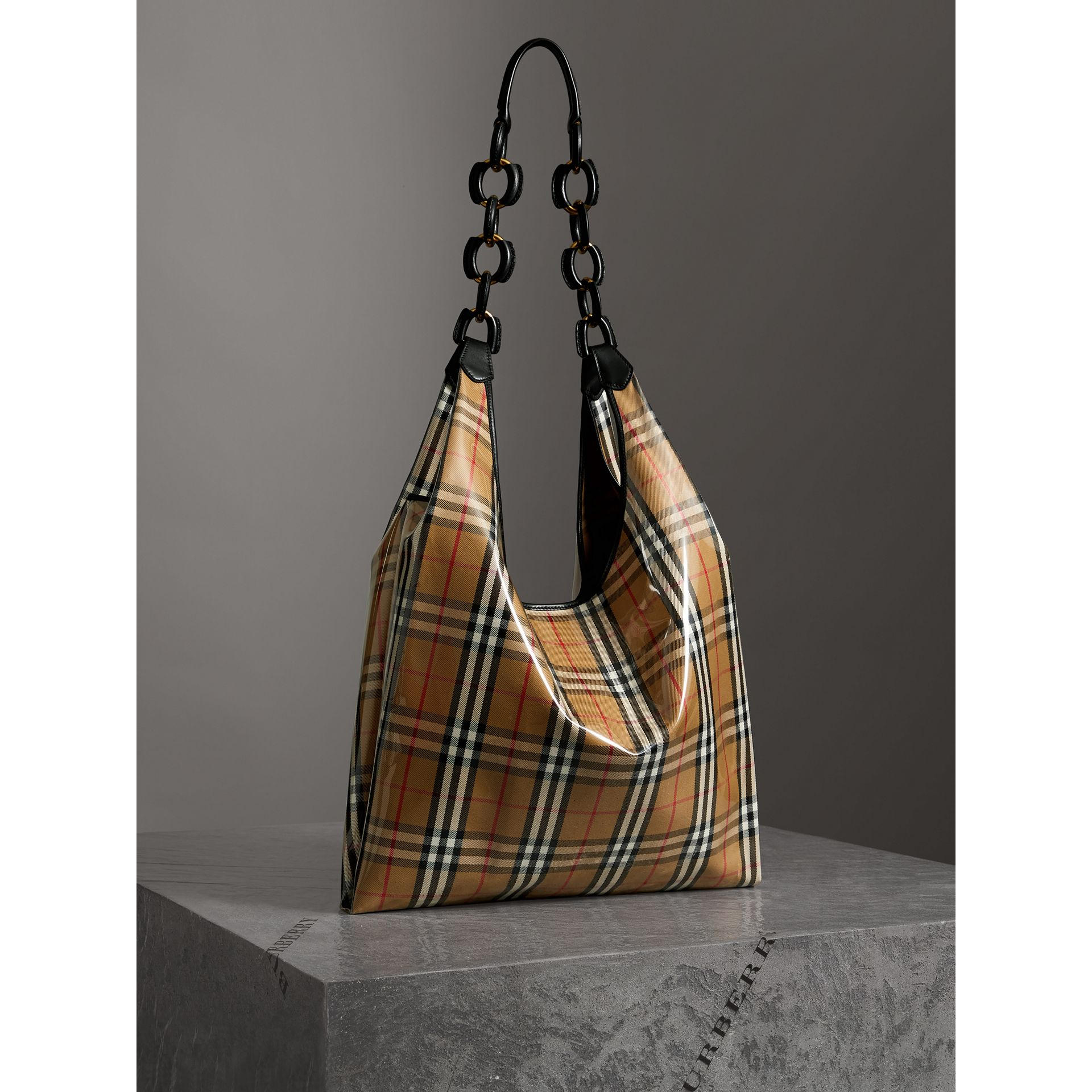 Medium Plastic Vintage Check and Leather Shopper in Antique Yellow/black - Women | Burberry Australia - gallery image 6