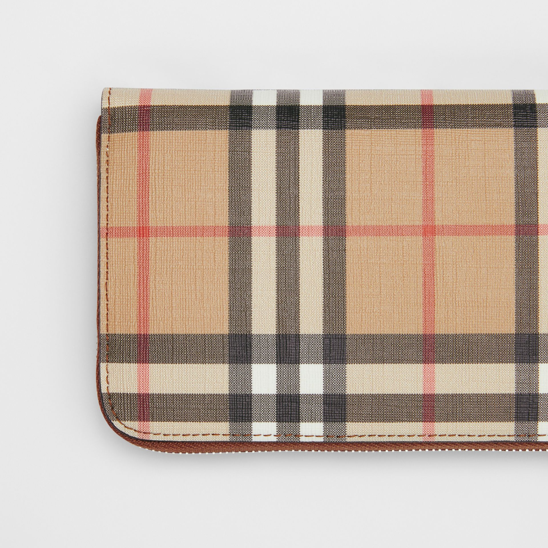 Vintage Check E-canvas Ziparound Wallet in Malt Brown - Women | Burberry - gallery image 1