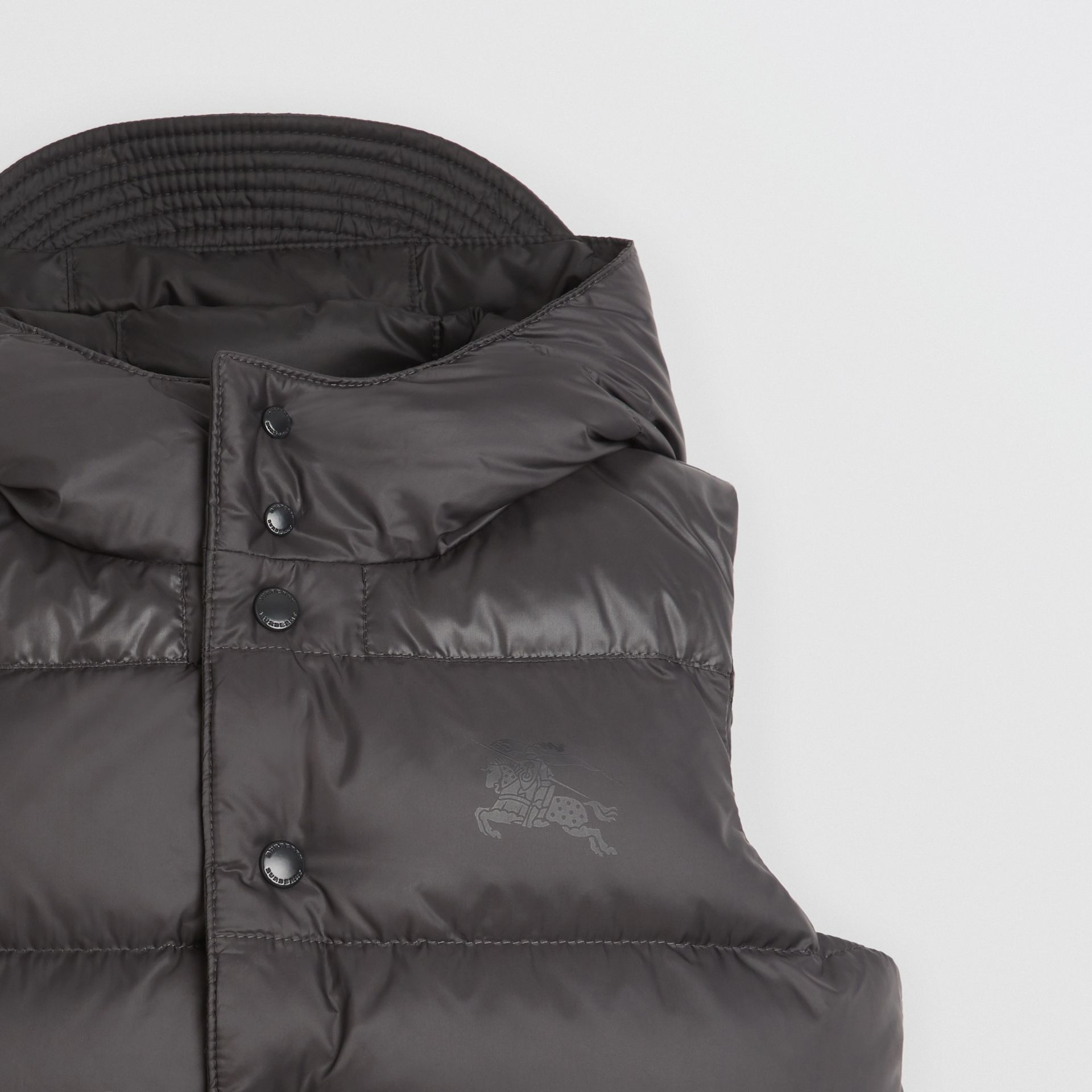 Reversible Showerproof Down-filled Hooded Gilet in Dark Grey | Burberry United States - gallery image 5