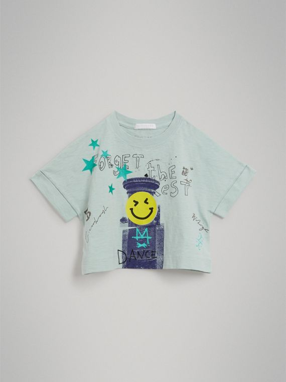 Smiley Face Print Cropped T-shirt in Pale Mint - Girl | Burberry - cell image 2