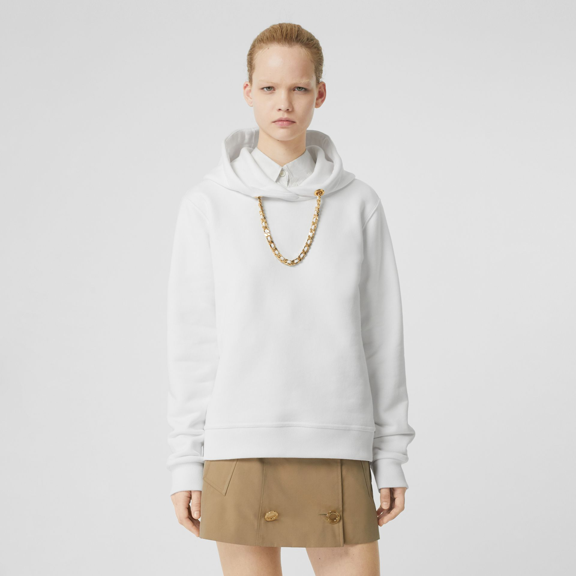 Chain Detail Cotton Oversized Hoodie in White - Women | Burberry - gallery image 0