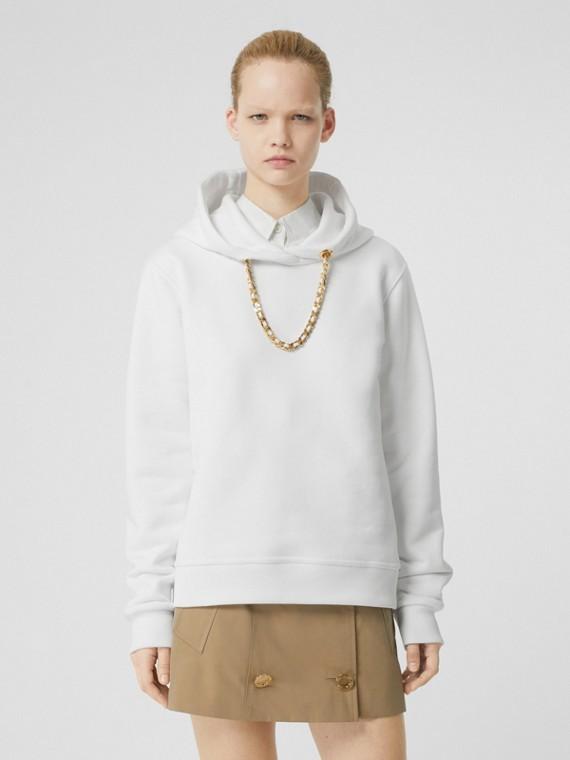 Chain Detail Cotton Hoodie in White