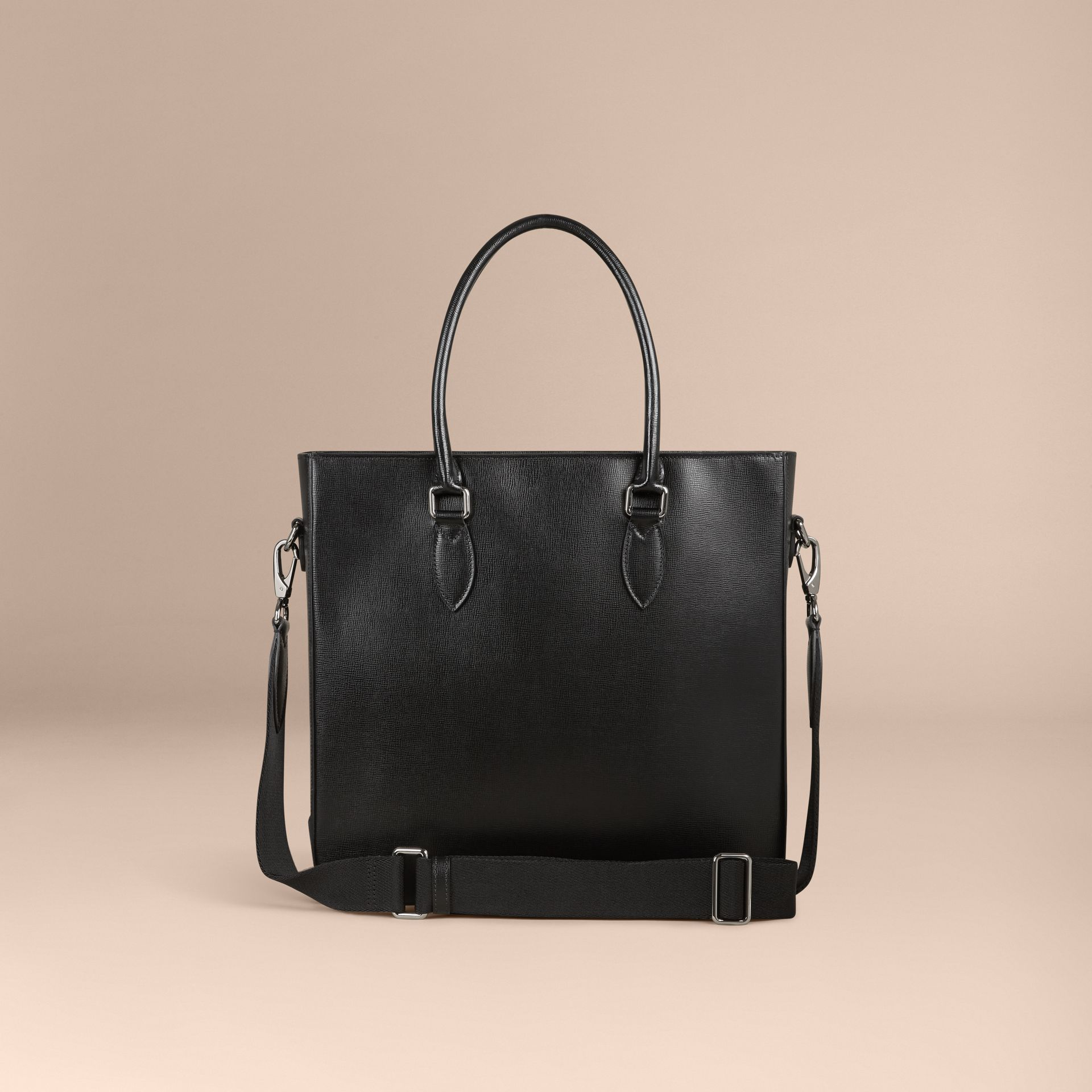 London Leather Tote Bag in Black - Men | Burberry - gallery image 5