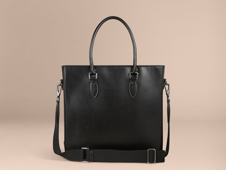 London Leather Tote Bag in Black - Men | Burberry - cell image 4