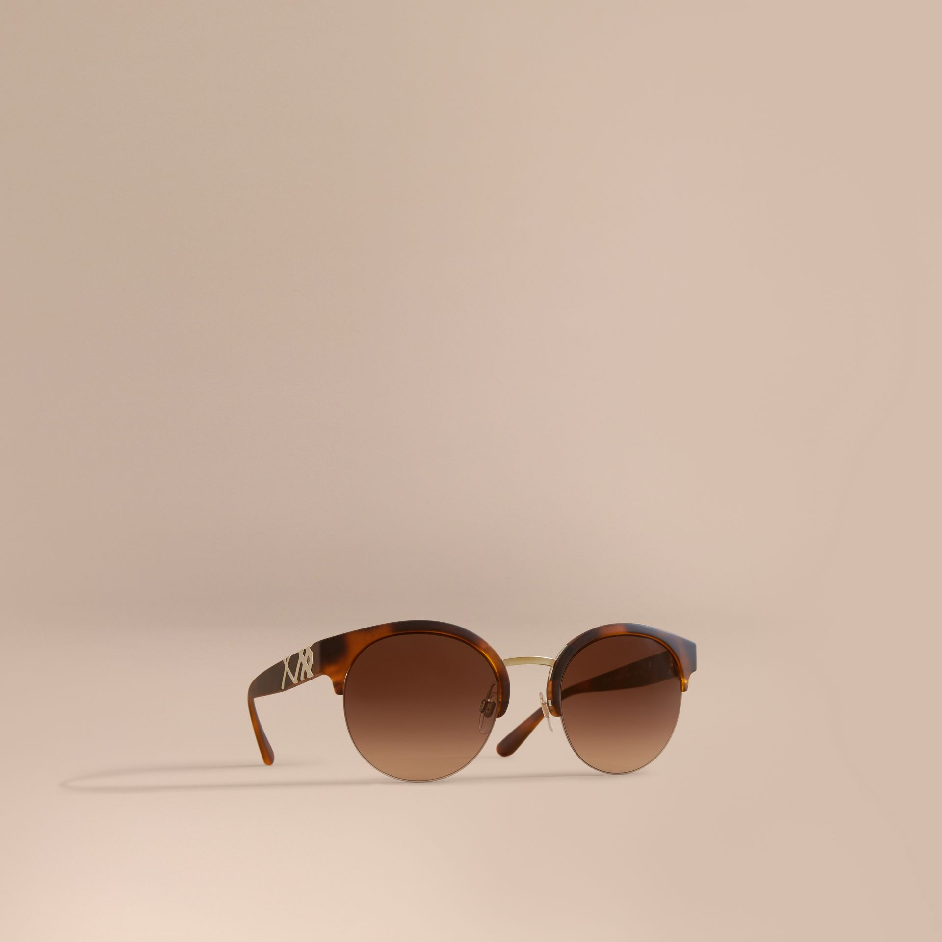 Check Detail Round Half-frame Sunglasses in Brown - Women | Burberry - gallery image 1