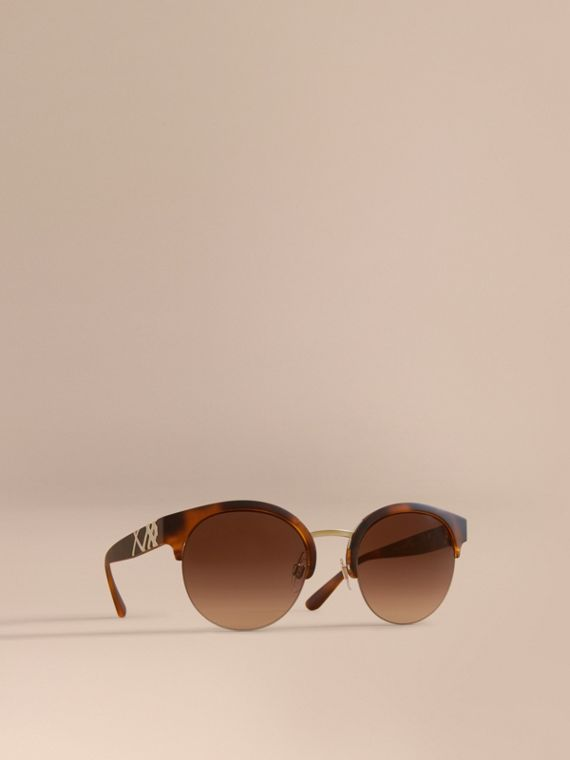Check Detail Round Half-frame Sunglasses in Brown