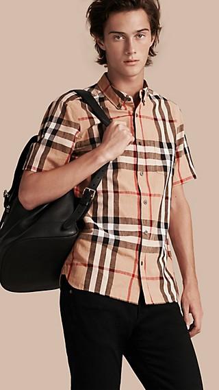 Short-sleeved Check Linen Cotton Shirt